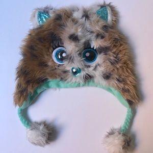 Justice winter fuzzy leopard cat hat